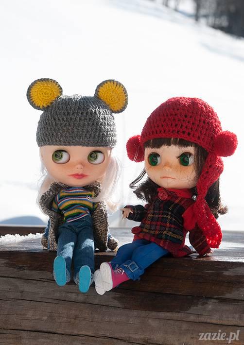 lalka Blythe doll Simply Chocolate & Vanilla custom ooak by Zazie Oh!Zazie, winter time play on the snow ski mountains