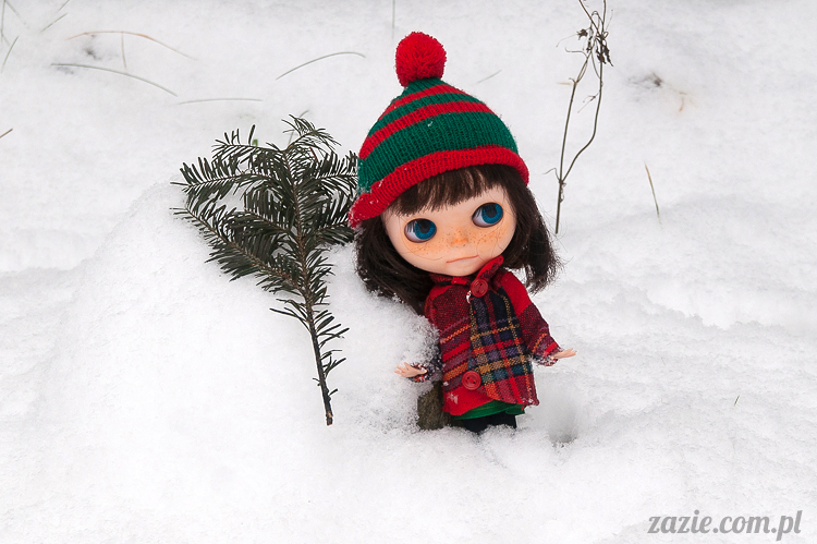 lalka Blythe doll Orka Simply Chocolate custom by Zazie winter first snow