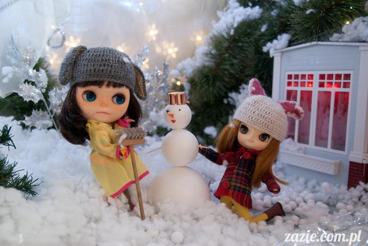 Christmas Xmas Dolls by Zazie, winter diorama with Blythe Simply Chocolate Dal Rot Chan Pullip Ddalgi