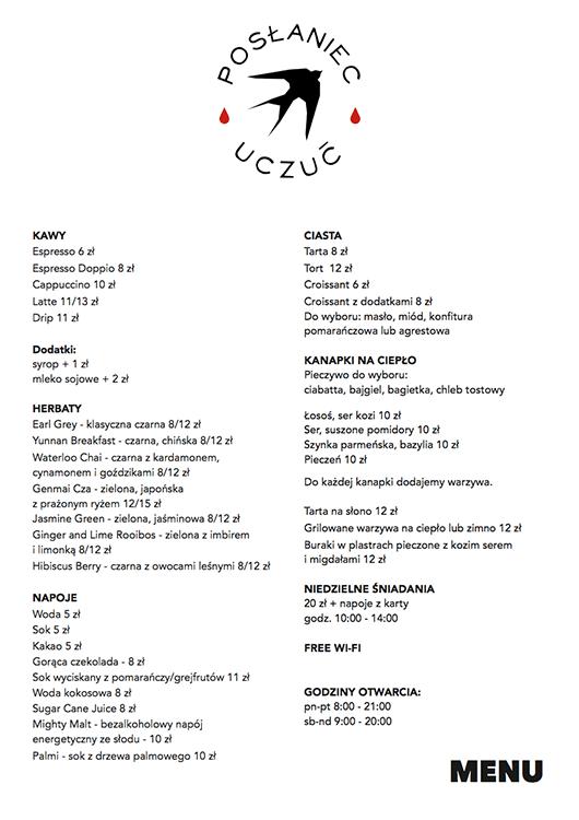 Posłaniec Uczuć kawiarnia menu