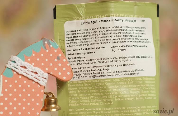 recenzje kosmetyków, opinie o kosmetykach, Pervoe Reshenie, Bania Agafii maska do twarzy liftingująca