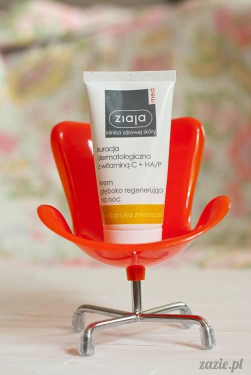recenzje i testy kosmetyków, opinie o kosmetykach, Ziaja Med, kuracja dermatologiczna z witaminą C + HA, krem głeboko regenerujący na noc