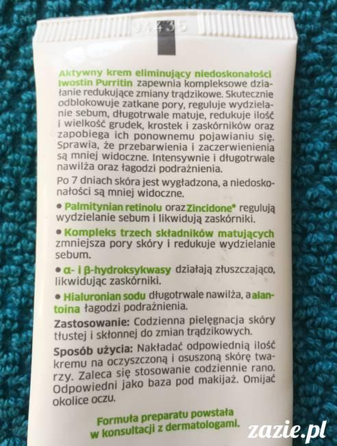 blog kosmetyczny, recenzje i testy kosmetyków, opinie o kosmetykach, leczenie trądziku, cera tłusta, cera problematyczna z niedoskonałościami, Iwostin Purritin Aktywny krem eliminujący niedoskonałości