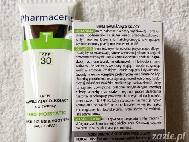 blog kosmetyczny, recenzje i testy kosmetyków, opinie o kosmetykach, leczenie trądziku, cera tłusta, cera problematyczna z niedoskonałościami, Pharmaceris Krem nawilżająco-kojący sebo-moistatic SPF30