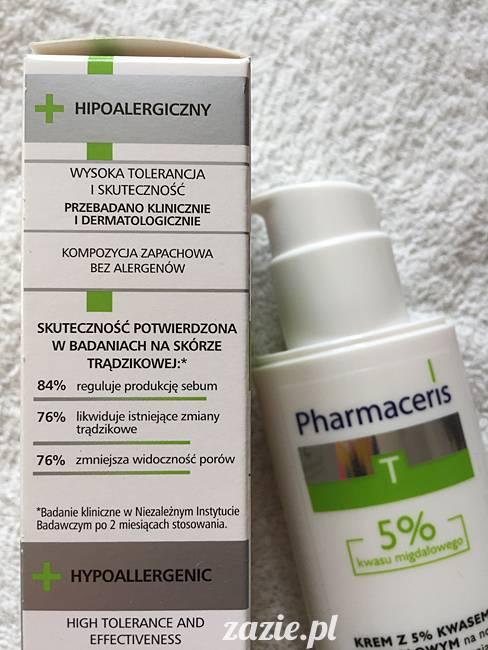 blog kosmetyczny, recenzje i testy kosmetyków, opinie o kosmetykach, leczenie trądziku, cera tłusta, cera problematyczna z niedoskonałościami, Pharmaceris, Krem z kwasem migdałowym 5% (sebo almond peel)