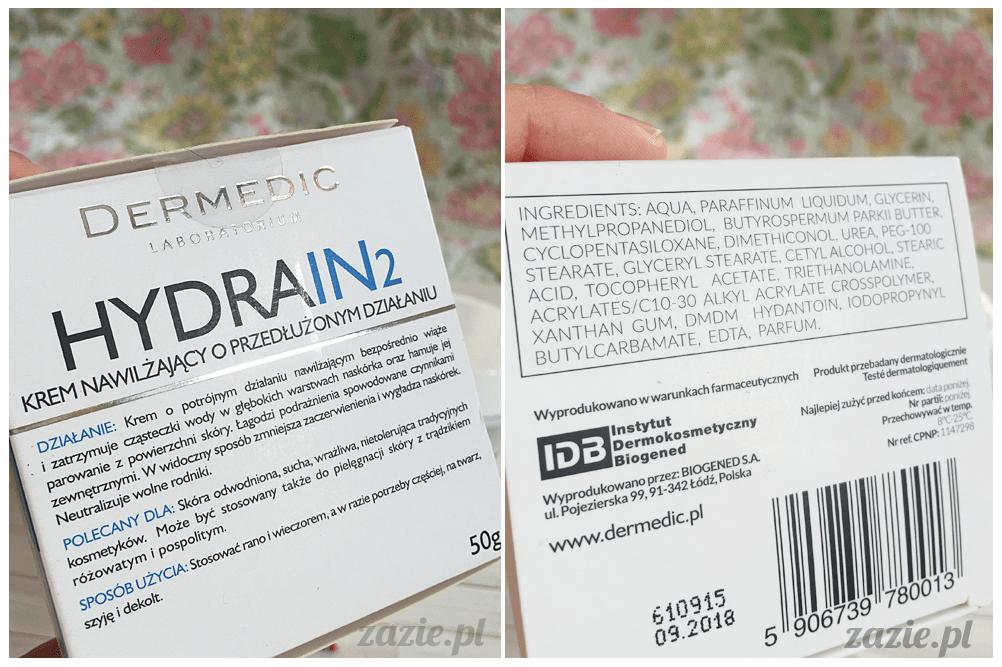 blog kosmetyczny, recenzje i testy kosmetyków, opinie o kosmetykach, Dermedic, HydraIN 2, Krem nawilżający o przedłużonym działaniu